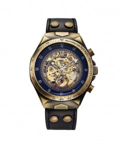 SEWOR Black Strap Skeleton Automatic Mechanical Sport Military Watch