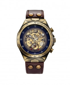 SEWOR Brown Strap Skeleton Automatic Mechanical Sport Military Watch