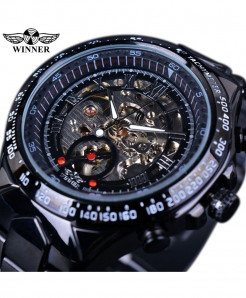 Winner Black Bezel Golden Automatic Skeleton Watch