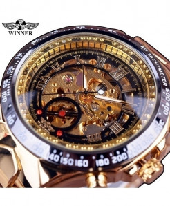Winner Black Golden Bezel Golden Automatic Skeleton Watch
