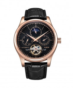 LIGE Golden Black Automatic Mechanical Tourbillon Sport Leather Watch