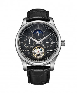 LIGE Silver Black Automatic Mechanical Tourbillon Sport Leather Watch
