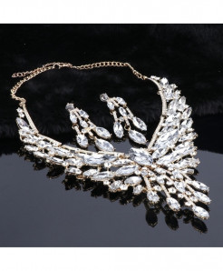 Crystal White Jewelry Set For Women