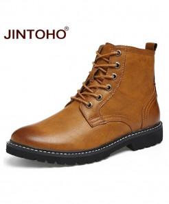 JINTOHO Brown Genuine Leather Pointed Toe Mid-Calf Boots