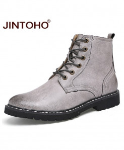 JINTOHO Gray Genuine Leather Pointed Toe Mid-Calf Boots