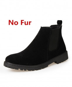 ZOQI Black Cow Suede Chelsea Ankle Zapatos Hombre Leather Boots