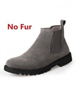 ZOQI Gray Cow Suede Chelsea Ankle Zapatos Hombre Leather Boots