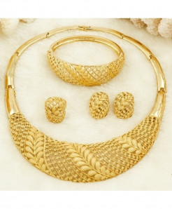 Tree Leaf Charm Party Gold Color Jewelry Set