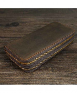 Brown Double Zipper Men Long Wallet Cow Leather Business Wallet