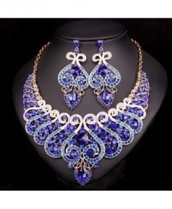 Chaoyite Dark Blue in Gold Luxury Jewelry Set For Women