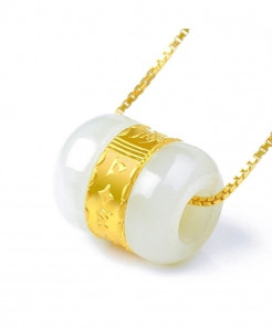 Gold Inlaid Jade Pendant Necklace For Women