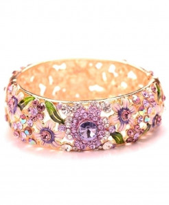Purple Ethnic Style Design Crystal Embellishment Loose Gemstones Bangle