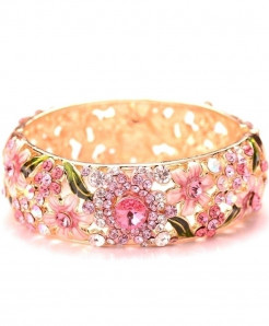 Pink Ethnic Style Design Crystal Embellishment Loose Gemstones Bangle