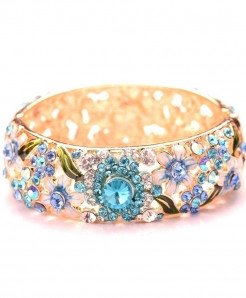Blue Ethnic Style Design Crystal Embellishment Loose Gemstones Bangle