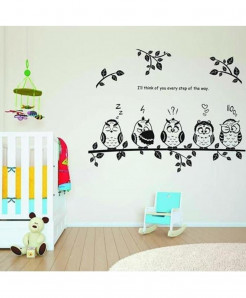Modern Cute Owls Wall  Decal BNS-184