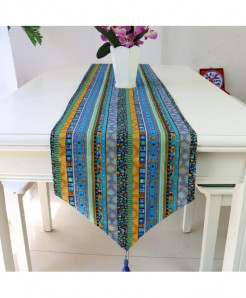 Varicolored Vintage Embroidered Table Runner 32x220cm