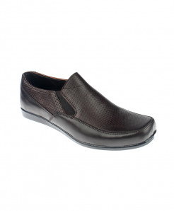 Choco Brown Leather Slip On Loafer Shoes LC-339