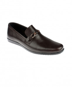 Choco Brown Leather Slip On Stylish Shoes LC-340