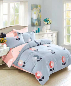 Plain Dual Tone Floral Printed Cotton Bedsheet RB-7087