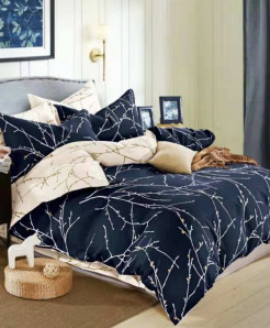 Navy Blue Pattern Printed Cotton Bedsheet RB-7093