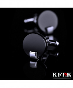 KFLK Black Button Rhodium Plated Cufflinks