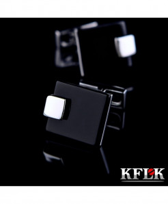 KFLK Black Rhodium Plated French Shirt Button Cufflinks