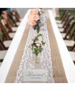 Elegant Jute Table Runner Burlap Lace Table Cloth
