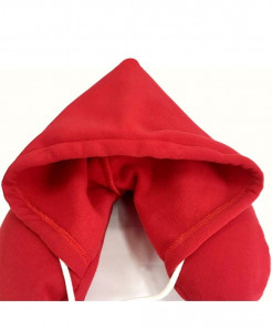 Red Travel Hooded U Shaped Pillow Cushion