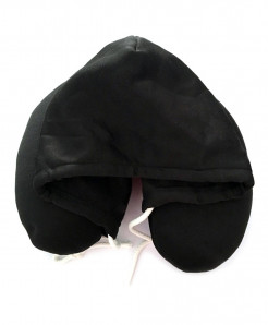 Black Travel Hooded U Shaped Pillow Cushion