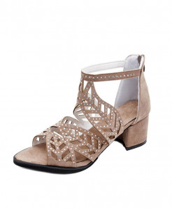 SANWOOD Beige  Hollow Out Faux Rhinestones Sandals