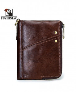 FUZHINIAO Coffee Cow Leather Coin Card Holder Wallet