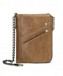 CONTACTS Brown Zipper Stylish Wallet