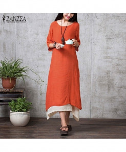 ZANZEA Orange Linen Long Maxi Dress