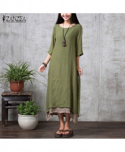 ZANZEA Green Linen Long Maxi Dress