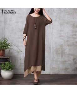 ZANZEA Coffee Stylish Linen Long Maxi Dress