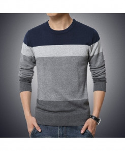 Navy Blue Ribbed O-Neck Striped Pullover Sweater