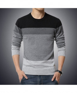 Black Ribbed O-Neck Striped Pullover Sweater