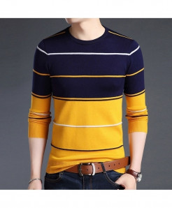 Dark Blue Lining O-Neck Striped Pullover Sweater