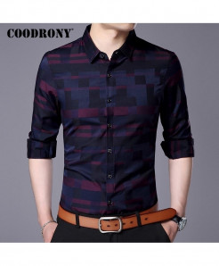 COODRONY Wine Stylish Design Casual Shirt