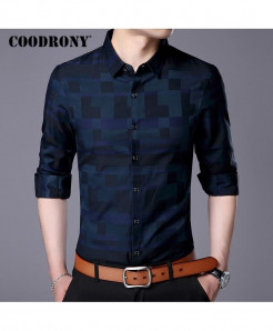 COODRONY Navy Stylish Design Casual Shirt