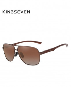 KINGSEVEN Brown Aluminum Polarized Sunglasses