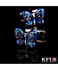 KFLK Blue Butterfly Stylish Design Cufflinks