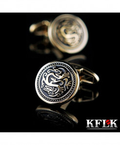 KFLK Golden Pattern Stylish Design Cufflinks