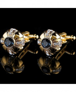 Golden Crystal Stylish Design Cufflinks