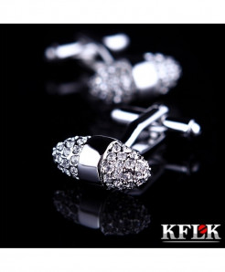 KFLK Silver Rhodium Plated Stylish Cufflinks