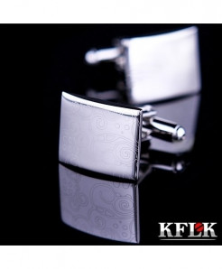 KFLK Silver Laser Pattern Design Stylish Cufflinks