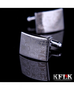 KFLK Gray Laser Pattern Design Stylish Cufflinks