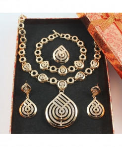 Gold Nigerian Crystal Stylish Jewelry Set