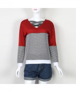 SMILE FISH Red Reversible Hollow Out Knitted Sweater