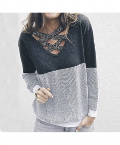 SMILE FISH Gray Reversible Hollow Out Knitted Sweater